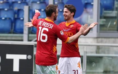 La Roma batte il Parma e rialza la testa dopo il tonfo di Siena. Festeggiato Totti per le 700 presenza in giallorosso..