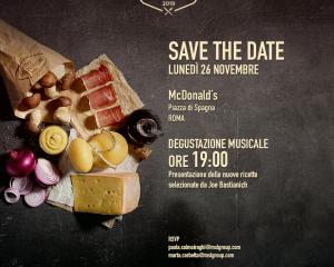 Joe Bastianich presenta i nuovi menù Mc Donalds. L'appuntamento a Piazza di Spagna a Roma.